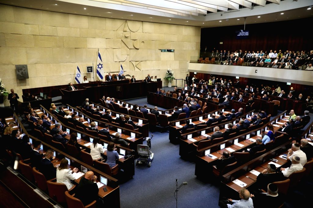JERUSALEM, April 30, 2019 - A ceremony to inaugurate Israel's 21st Knesset is held in Jerusalem, on April 30, 2019. The newly-elected Israeli parliament, or Knesset, was sworn in on Tuesday, three ...