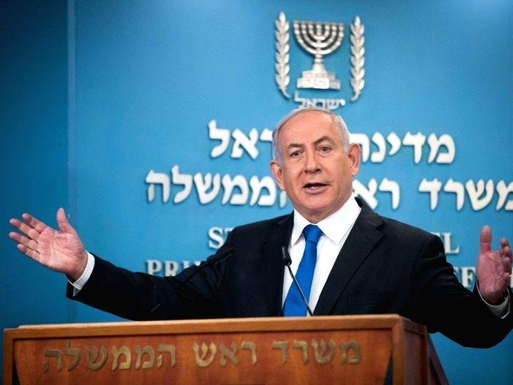 Jerusalem, Aug. 13, 2020 (Xinhua) -- Israeli Prime Minister Benjamin Netanyahu delivers a speech at a press conference in Jerusalem, on Aug. 13, 2020. (Xinhua Photo/IANS) - Benjamin Netanyahu