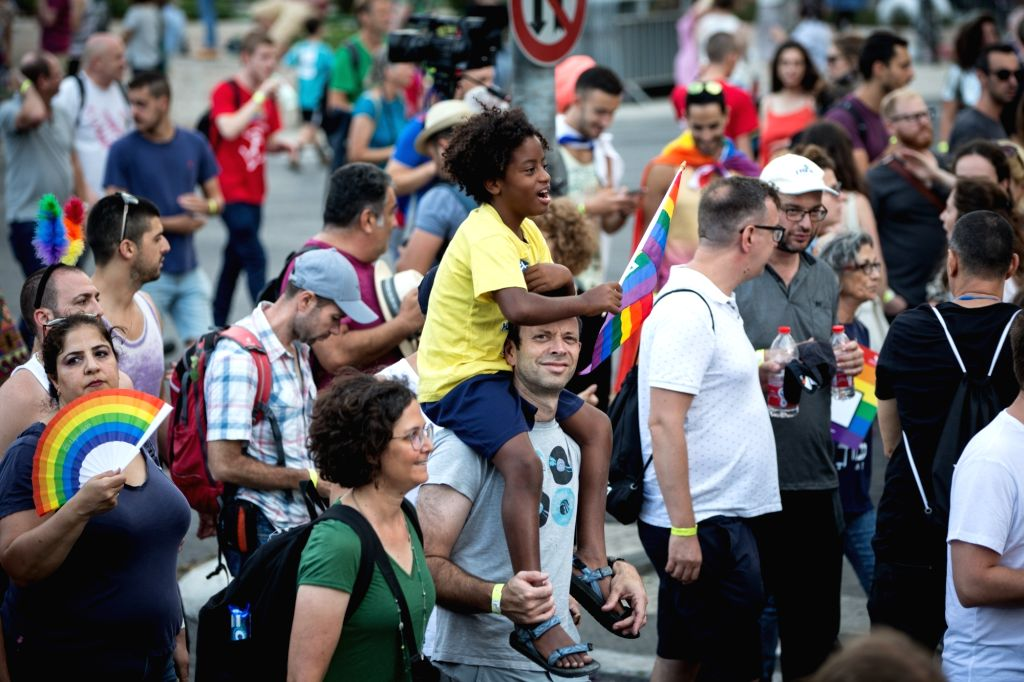 JERUSALEM, Aug. 2, 2018 - People take part in the gay pride parade in Jerusalem, on Aug. 2, 2018. Jerusalem's gay pride parade kicked off Thursday afternoon with as many as 30,000 participants.