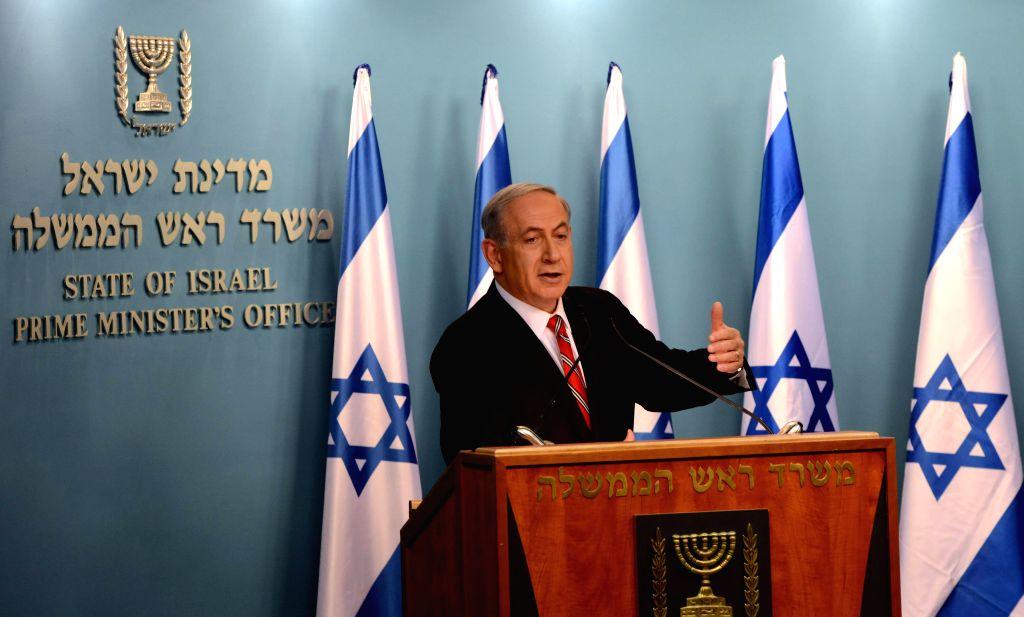 Israeli Prime Minister Benjamin Netanyahu addresses a news conference in Jerusalem, on Aug. 6, 2014. Israeli Prime Minister Benjamin Netanyahu said on Wednesday ...