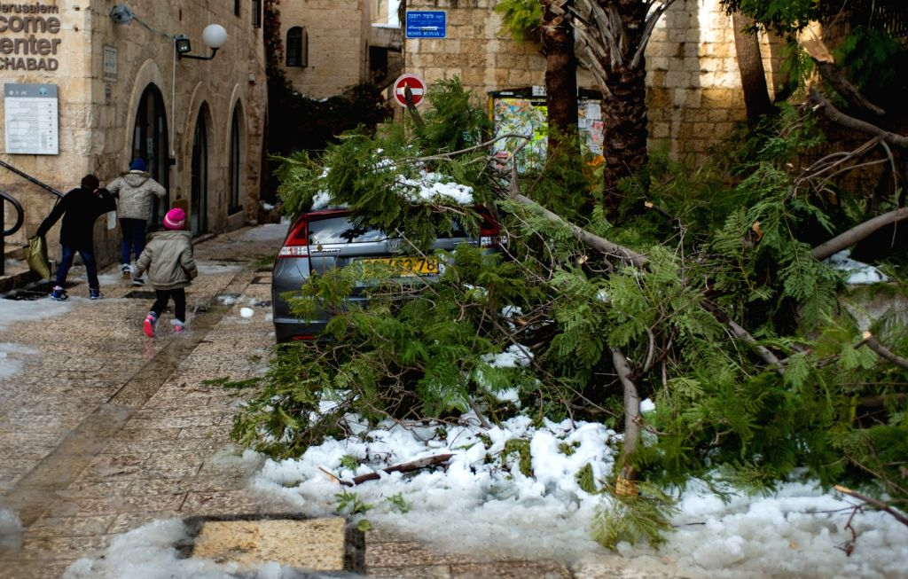 Broken branches caused by accummulated snow are seen on top of a vehicle in the Old City of Jerusalem, on Dec. 13, 2013. A heavy storm in Israel, ongoing for