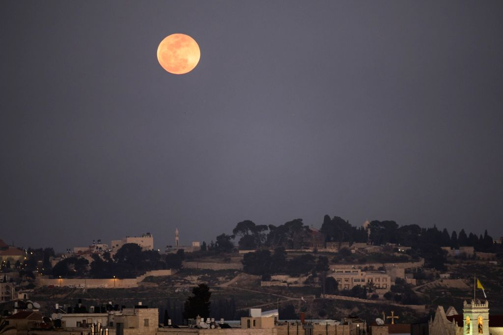 "JERUSALEM, Feb. 1, 2018 - ""Super moon"" appears in the sky over Jerusalem, on Jan. 31, 2018."
