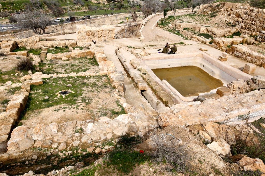 JERUSALEM, Feb. 12, 2018 - A structure discovered at the site of Ein Hanya is seen near Jerusalem, on Feb. 12, 2018. Israeli authorities inaugurated a nature park near Jerusalem after five years of ...