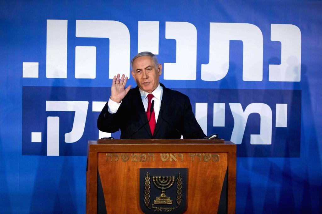 JERUSALEM, Feb. 28, 2019 - Israeli Prime Minister Benjamin Netanyahu speaks to reporters in his Jerusalem office, on Feb. 28, 2019. Israeli Prime Minister Benjamin Netanyahu on Thursday blasted the ... - Benjamin Netanyahu