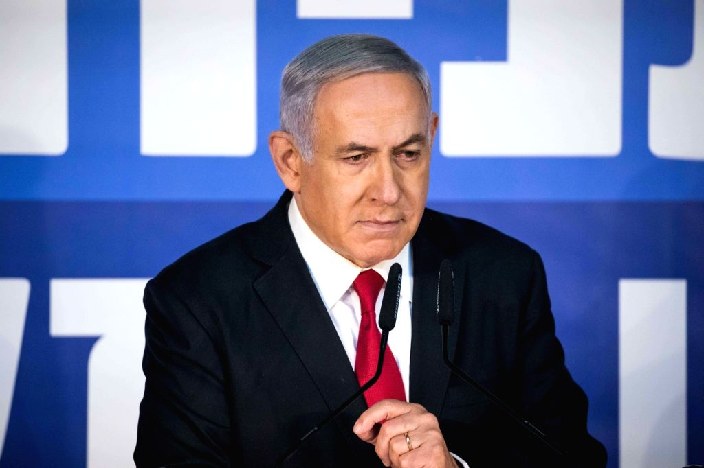 JERUSALEM, Feb. 28, 2019 (Xinhua) -- Israeli Prime Minister Benjamin Netanyahu speaks to reporters in his Jerusalem office, on Feb. 28, 2019. Israeli Prime Minister Benjamin Netanyahu on Thursday blasted the decision by the attorney general to charge - Benjamin Netanyahu