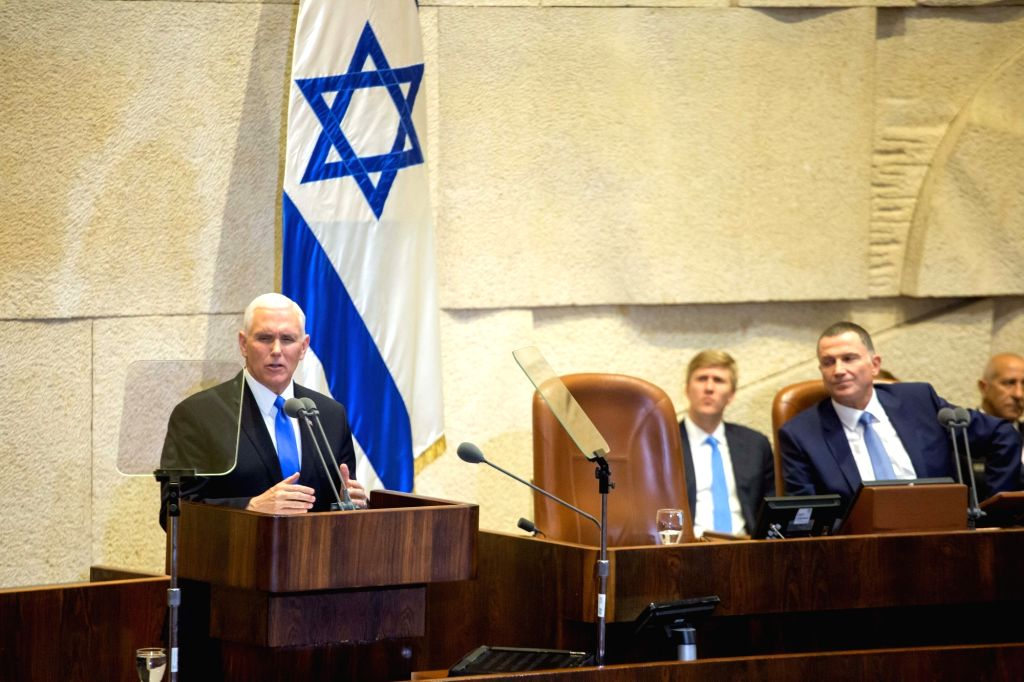 JERUSALEM, Jan. 22, 2018 - U.S. Vice President Mike Pence (1st L) speaks at a special plenary session at the Knesset in Jerusalem, on Jan. 22, 2018. U.S. Vice President Mike Pence addressed the ...