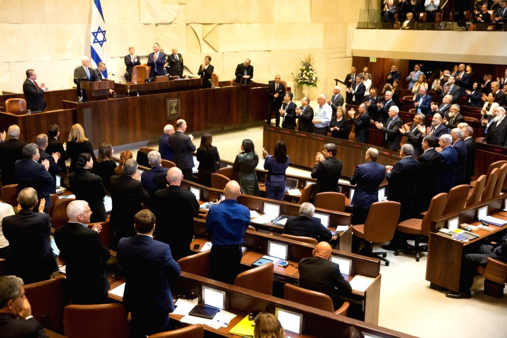 JERUSALEM, Jan. 22, 2018 - U.S. Vice President Mike Pence (2nd L, Rear) speaks at a special plenary session at the Knesset in Jerusalem, on Jan. 22, 2018. U.S. Vice President Mike Pence addressed the ...