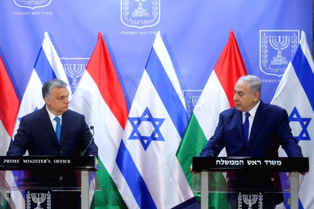 JERUSALEM, July 19, 2018 - Israeli Prime Minister Benjamin Netanyahu (R) and Hungarian Prime Minister Viktor Orban attend a joint press conference in Jerusalem, on July 19, 2018. Viktor Orban, known ... - Benjamin Netanyahu