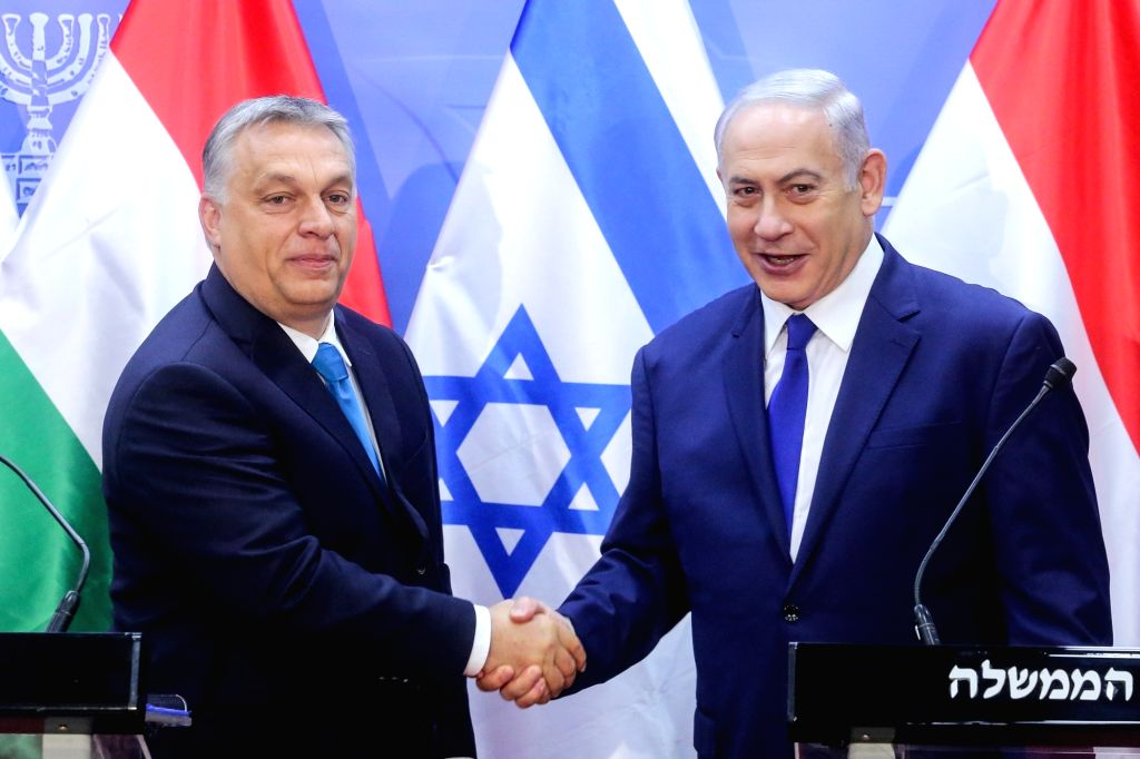 JERUSALEM, July 19, 2018 - Israeli Prime Minister Benjamin Netanyahu (R) shakes hands with Hungarian Prime Minister Viktor Orban during a joint press conference in Jerusalem, on July 19, 2018. Viktor ... - Benjamin Netanyahu
