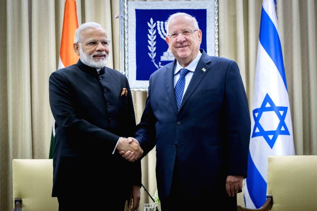 JERUSALEM, July 5, 2017 - Israeli president Reuven Rivlin (R) meets with Indian Prime Minister Narendra Modi at the President's residence in Jerusalem, on July 5, 2017. - Narendra Modi