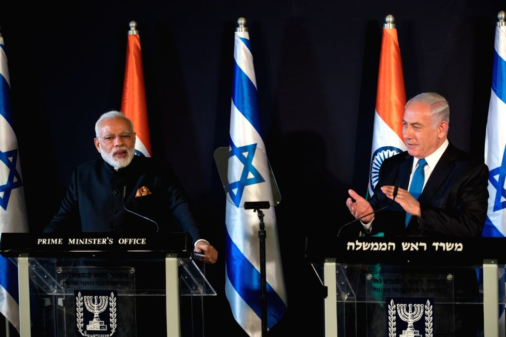 JERUSALEM, July 5, 2017 - Israeli Prime Minister Benjamin Netanyahu (R) and his Indian counterpart Narendra Modi attend a joint press conference in Jerusalem, on July 5, 2017. Indian Prime Minister ... - Benjamin Netanyahu and Narendra Modi