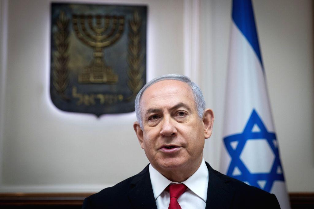 JERUSALEM, June 10, 2018 - Israeli Prime Minister Benjamin Netanyahu chairs the weekly cabinet meeting in Jerusalem, on June 10, 2018. Benjamin Netanyahu said Sunday that European leaders have agreed ... - Benjamin Netanyahu