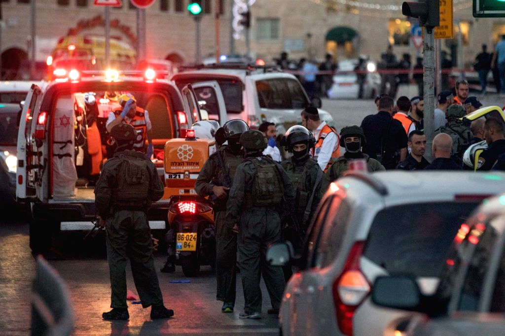 JERUSALEM, June 16, 2017 - Israeli security forces work on the scene of attack near Damascus Gate of Jerusalem's Old City, on June 16, 2017. Israeli police said they shot dead three Palestinian ...