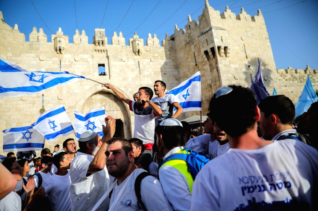 """JERUSALEM, June 2, 2019 - Israeli people take part in a march marking the Jerusalem Day, an annual Israeli commemoration of the """"reunification"""" of Jerusalem after the 1967 war, in ..."""