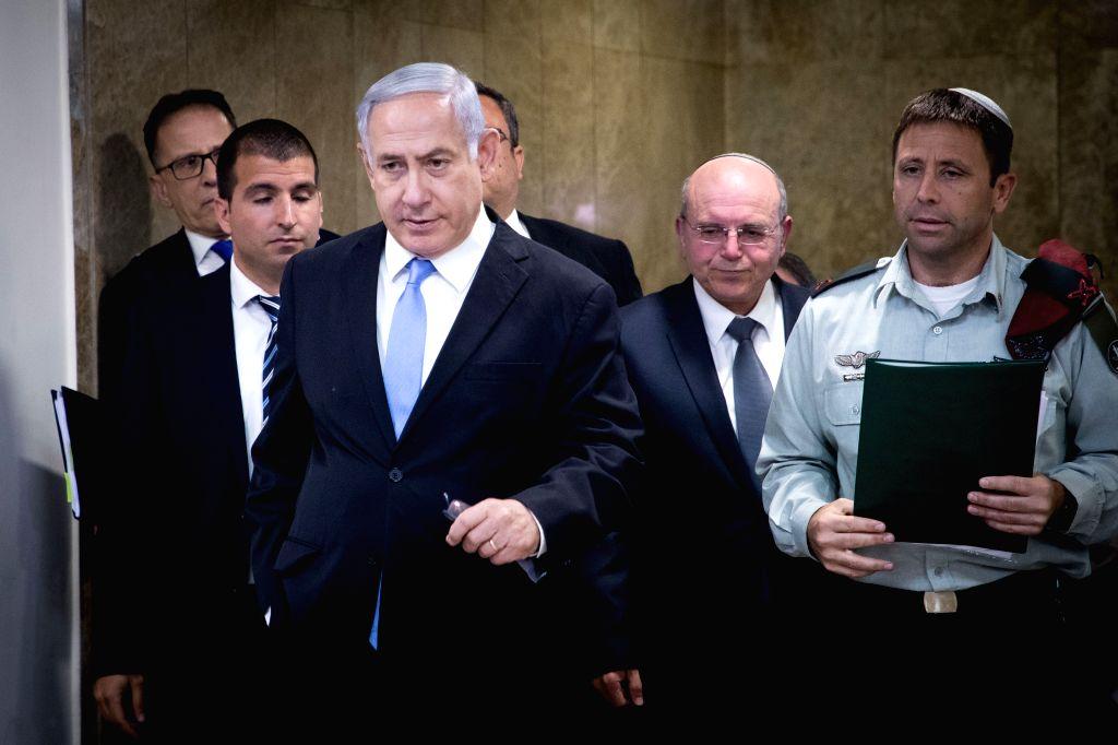 JERUSALEM, June 2, 2019 - Israeli Prime Minister Benjamin Netanyahu (Front) attends the weekly cabinet meeting in Jerusalem, June 2, 2019. The Israeli parliament, known as the Knesset, dissolved ... - Benjamin Netanyahu
