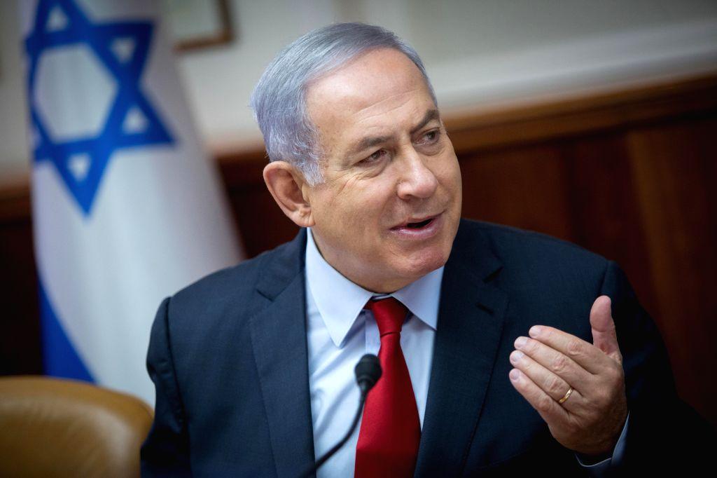 JERUSALEM, June 24, 2019 (Xinhua) -- Israeli Prime Minister Benjamin Netanyahu attends a weekly cabinet meeting at the Prime Minister's office in Jerusalem, on June 24, 2019. Benjamin Netanyahu on Monday said that he expects Russian President Vladimi - Benjamin Netanyahu
