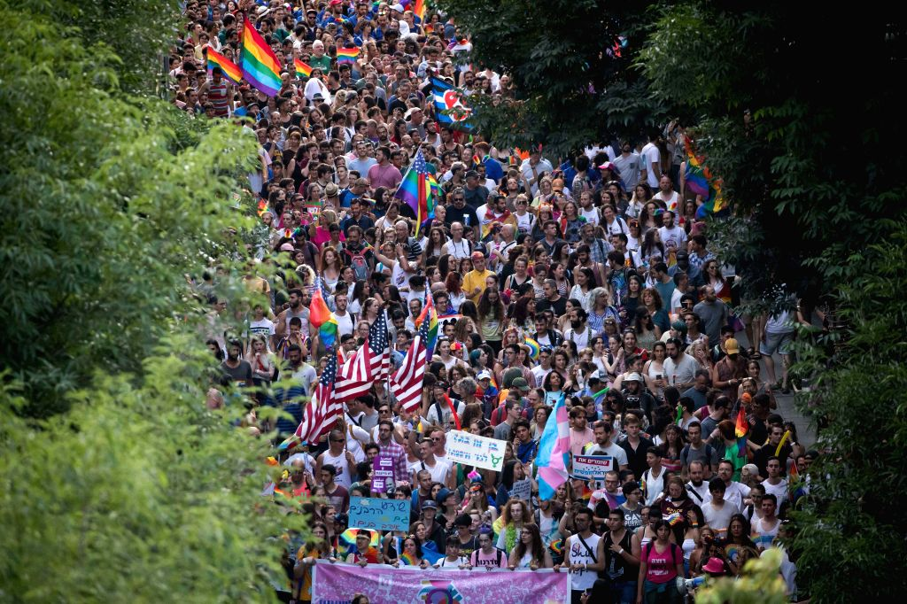 JERUSALEM, June 6, 2019 - People participate in the annual pride parade in Jerusalem, on June 6, 2019. Thousands of people marched to call for equality, security and freedom for the LGBT community at ...