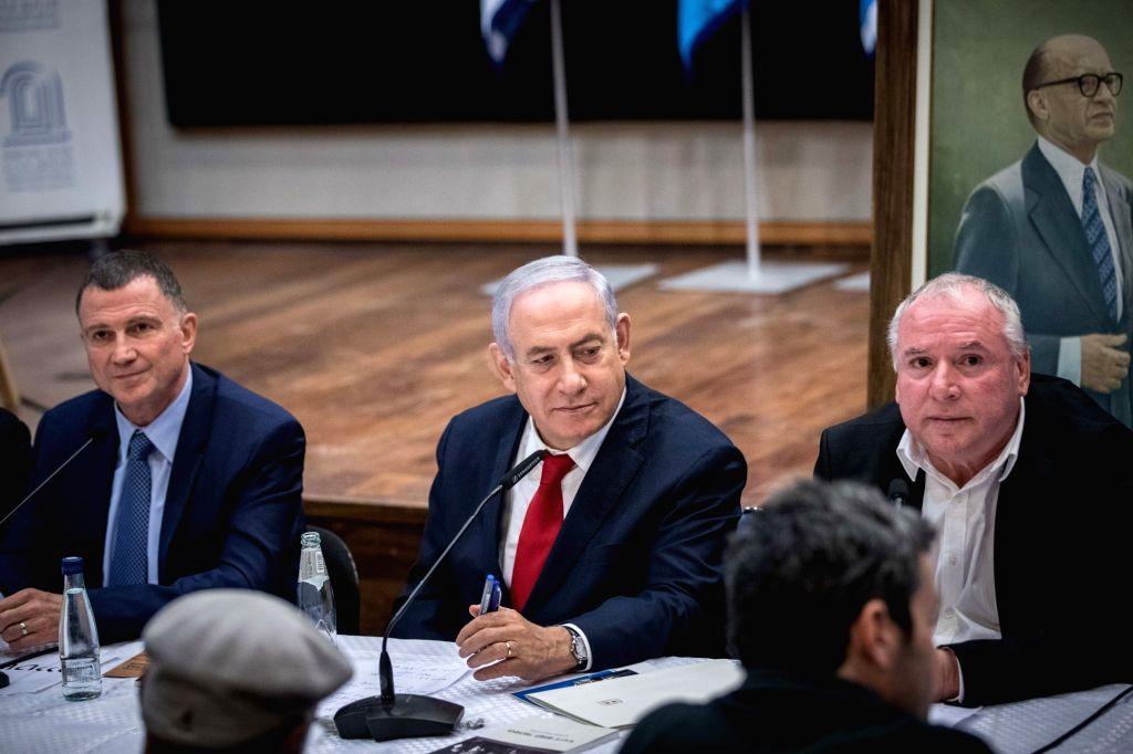JERUSALEM, March 11, 2019 - Israeli Prime Minister Benjamin Netanyahu (C) speaks during the Likud Party meeting in memory of the late Prime Minister Menachem Begin at the Begin Heritage Center in ... - Benjamin Netanyahu