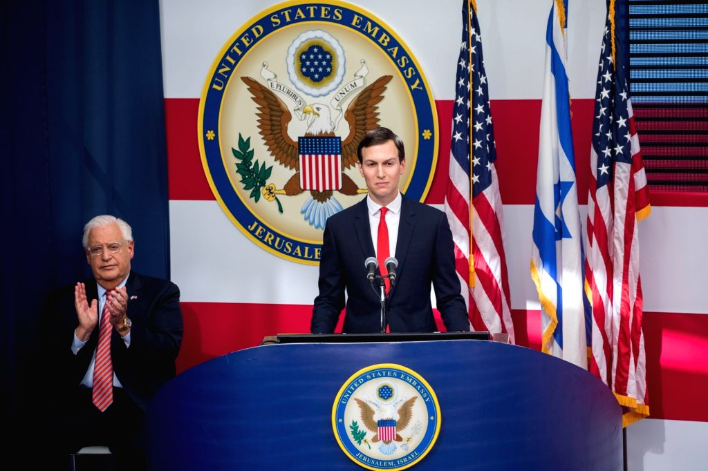 JERUSALEM, May 14, 2018 (Xinhua) -- U.S. President Donald Trump's senior adviser and son-in-law Jared Kushner speaks during the inauguration ceremony of the new U.S. embassy in Jerusalem, on May 14, 2018. The inauguration ceremony of the new U.S. emb