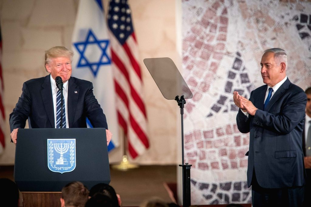 JERUSALEM, May 23, 2017 - U.S. President Donald Trump (L) delivers a speech at the Israel Museum in Jerusalem on May 23, 2017. In the final remarks that concluded his first visit to the region, U.S. ...