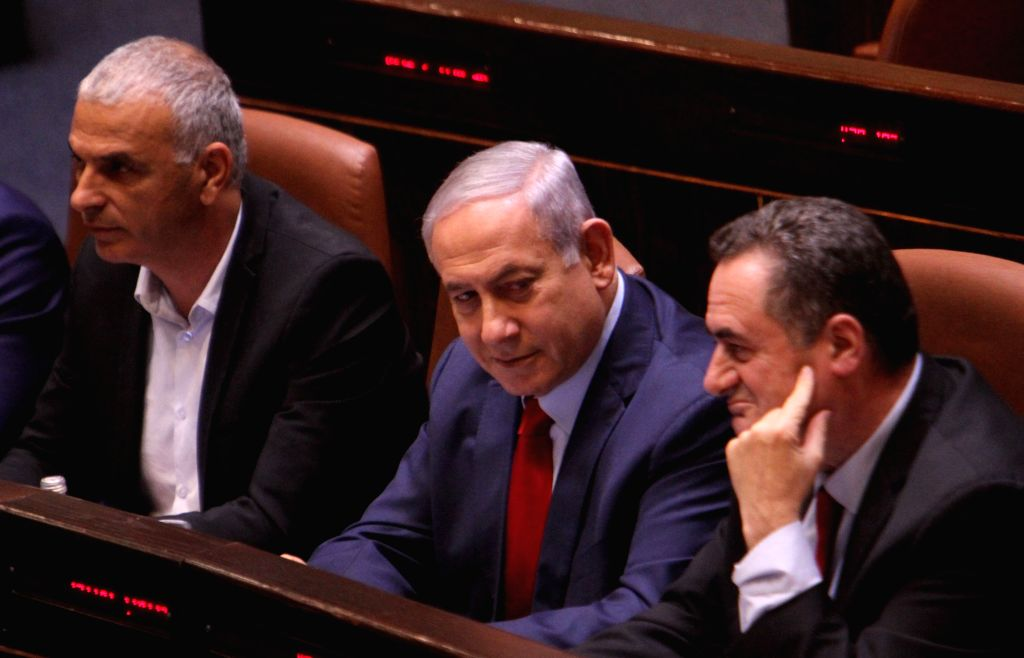 JERUSALEM, May 30, 2019 - Israeli Prime Minister Benjamin Netanyahu (C) is seen at the Knesset, the Israeli parliament, in Jerusalem, on May 29, 2019. The Israeli parliament on Wednesday night ... - Benjamin Netanyahu