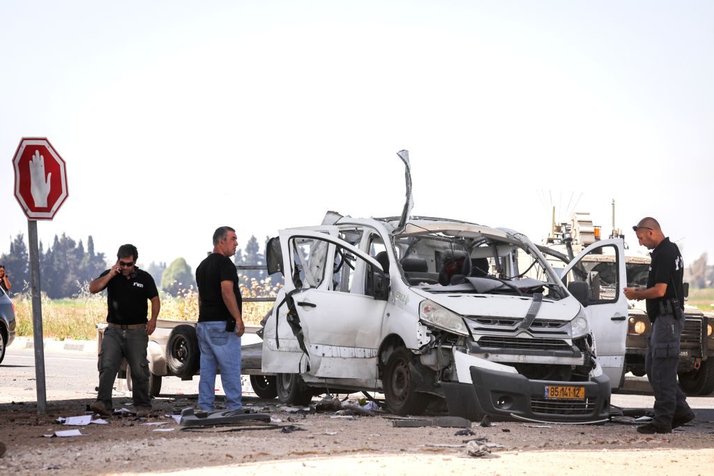 JERUSALEM, May 6, 2019 - Photo taken on May 5, 2019 shows a car damaged by a rocket fired from the Gaza Strip near Yad Mordechai in southern Israel. Four Israeli civilians were killed on Sunday and ...