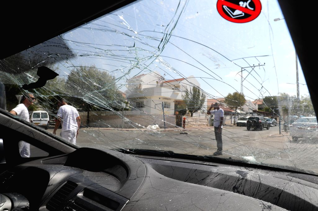 JERUSALEM, Oct. 5, 2016 - Windshield of a car damaged by a rocket is seen in Sderot, Israel, Oct. 5, 2016. A rocket fired from the Gaza Strip hit a southern Israeli city on Wednesday morning, Israeli ...