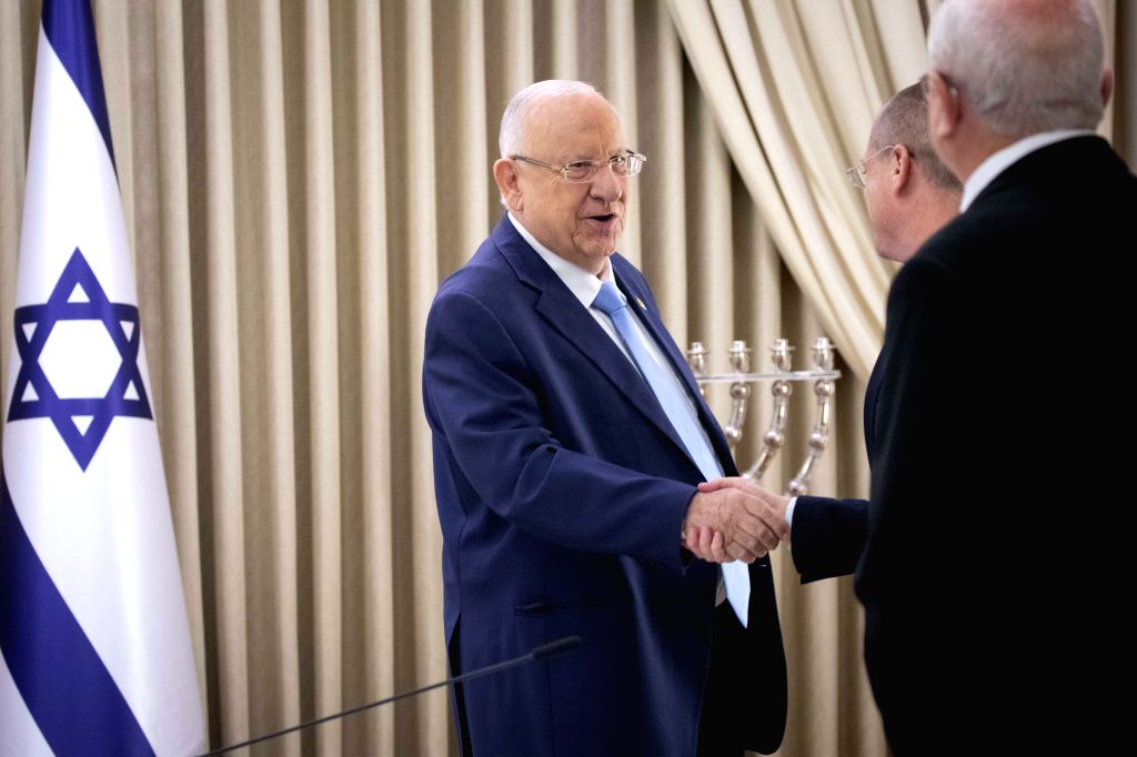 JERUSALEM, Sept. 22, 2019 - Israeli President Reuven Rivlin (L) meets with members of the Yisrael Beiteinu party at the President's Residence in Jerusalem, on Sept. 22, 2019. Israeli President Reuven ...