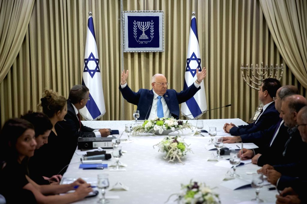JERUSALEM, Sept. 22, 2019 - Israeli President Reuven Rivlin (C) meets with members of the Joint List at the President's Residence in Jerusalem, on Sept. 22, 2019. Israeli President Reuven Rivlin ...