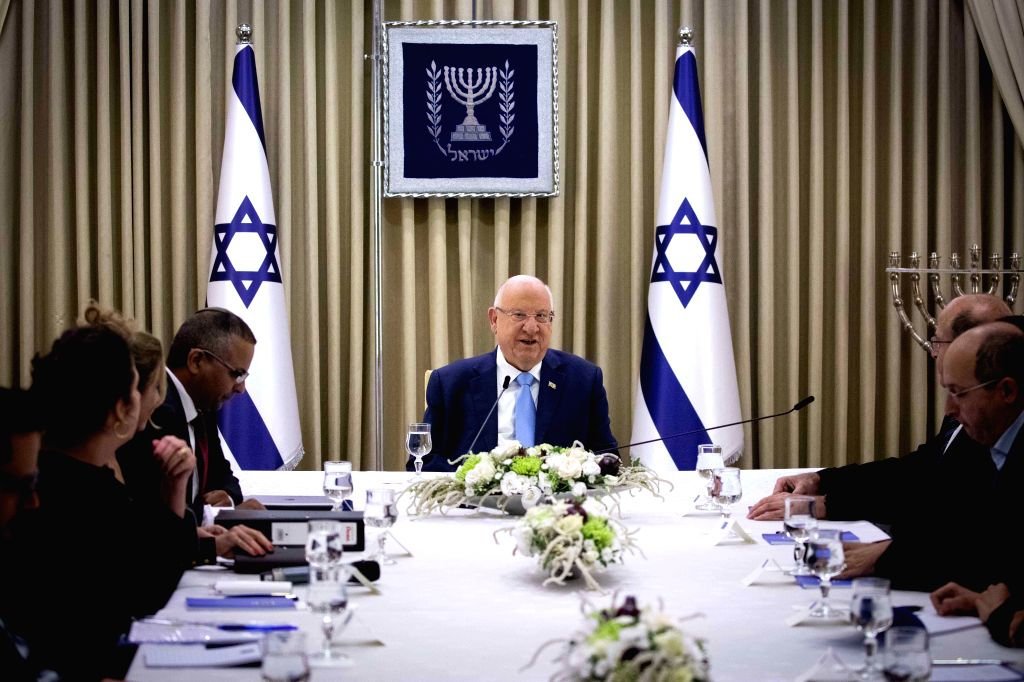 JERUSALEM, Sept. 22, 2019 - Israeli President Reuven Rivlin (C) meets with members of the Blue and White party at the President's Residence in Jerusalem, on Sept. 22, 2019. Israeli President Reuven ...
