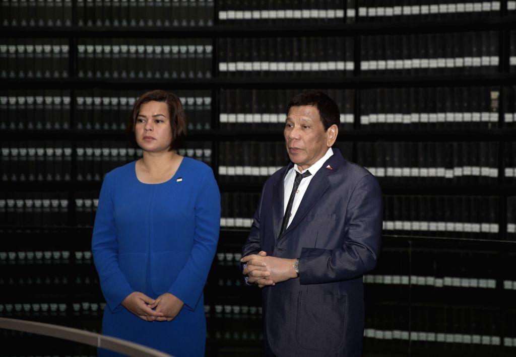 JERUSALEM, Sept. 3, 2018 - Philippine President Rodrigo Duterte (R) visits the Yad Vashem World Holocaust Remembrance Center in Jerusalem Sept. 3, 2018.
