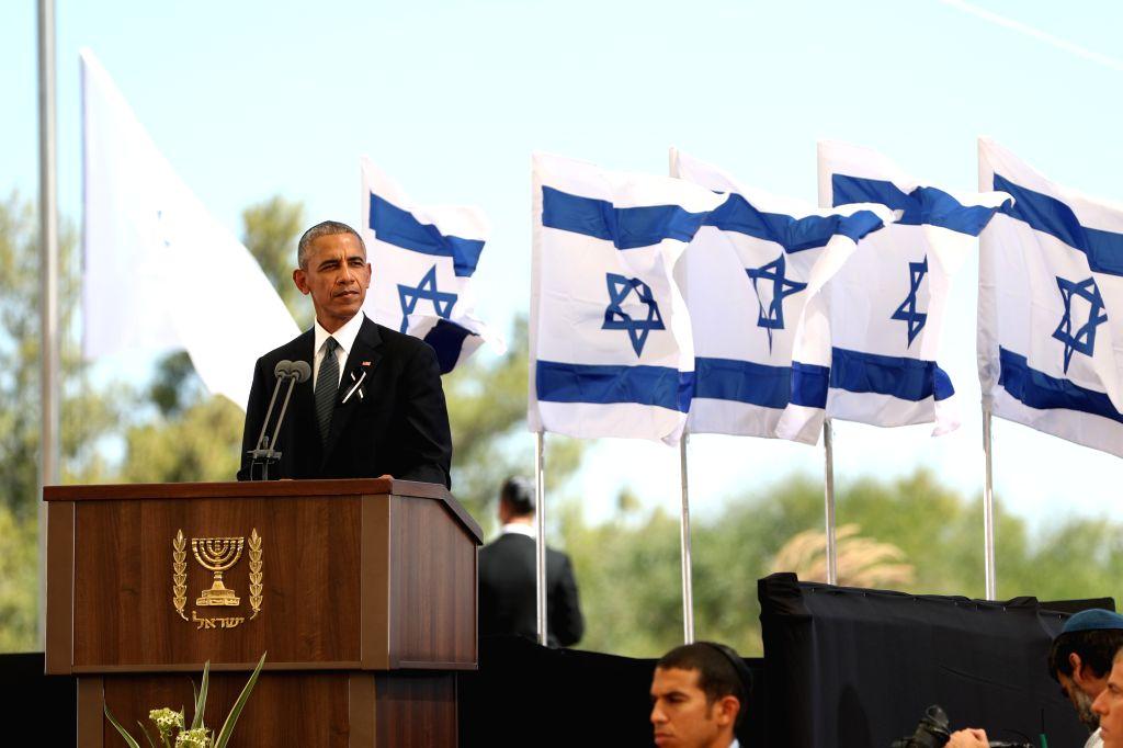 JERUSALEM, Sept. 30, 2016 - U.S. President Barack Obama delivers a eulogy during the funeral of Israel's former president Shimon Peres at Mount Herzl cemetery in Jerusalem, Sept. 30, 2016.