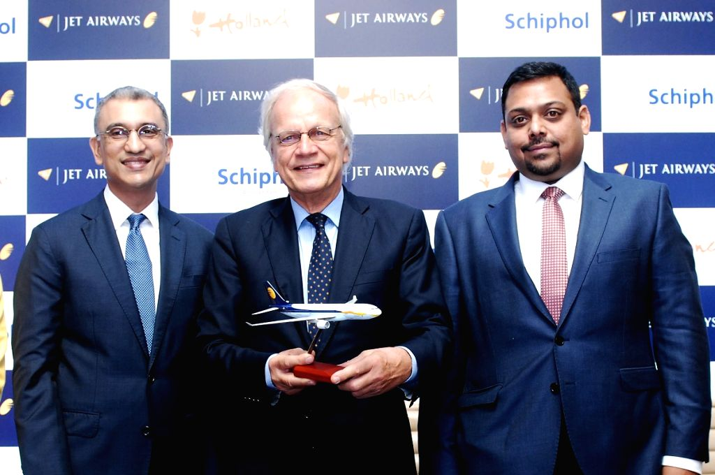 Jet Airways Chief Executive Officer Vinay Dube and Vice-President, Praveen Iyer Vice President Commercial (India Sales) with Netherlands Envoy Alphonsus H M Stoelinga during a press ...