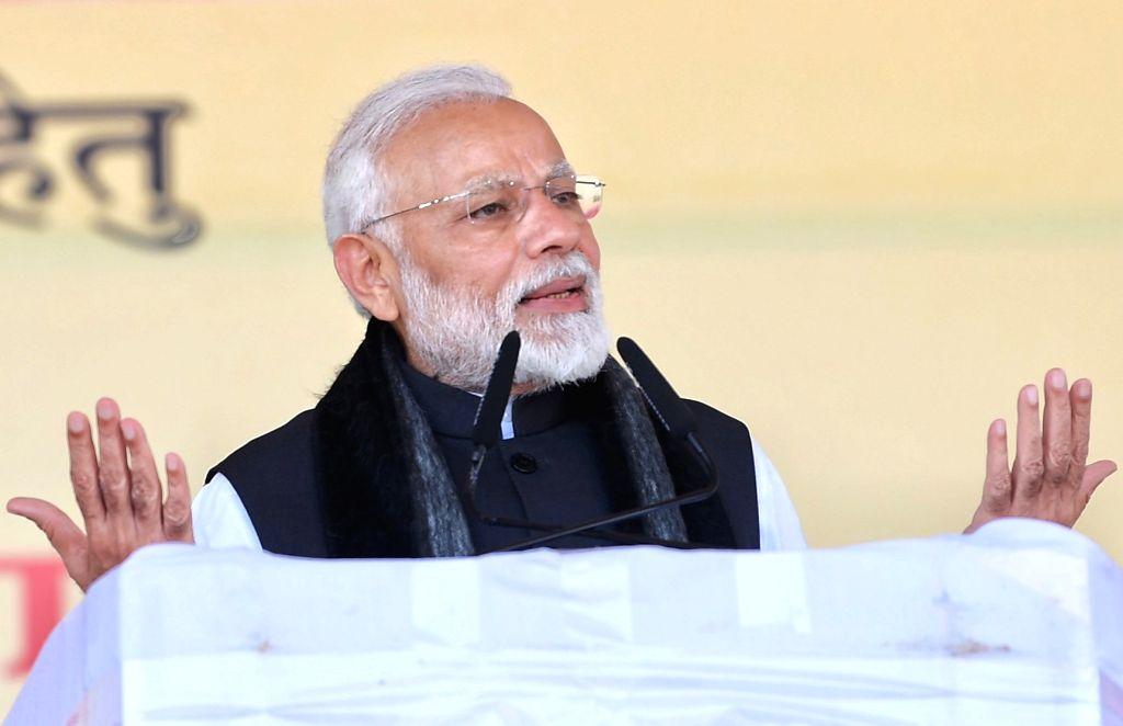 Jhansi: Prime Minister Narendra Modi addresses at the inauguration of various development projects in Jhansi of Uttar Pradesh, on Feb 15, 2019. (Photo: IANS/PIB) - Narendra Modi