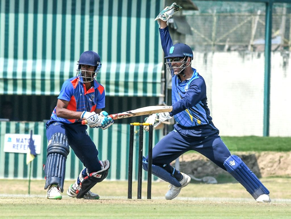 Jharkhand captain MS Dhoni appeals for a out during Vijay Hazare Trophy match between Jharkhand and Services at Bengal Cricket Academy Ground in Kalyani of West Bengal on Feb 28, 2017. - MS Dhoni