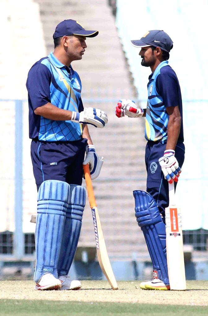Jharkhand Captain MS Dhoni during a Vijay Hazare Trophy match between Jharkhand and Chhattisgarh  at Eden Gardens in Kolkata on Feb 26, 2017. - MS Dhoni
