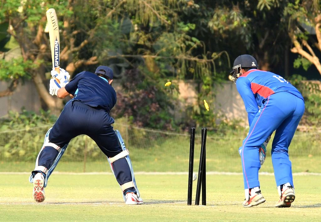 Jharkhand captain MS Dhoni gets bowled during Vijay Hazare Trophy match between Jharkhand and Hyderabad at Jadavpur University Campus 2nd Ground in Kolkata on March 3, 2017. - MS Dhoni