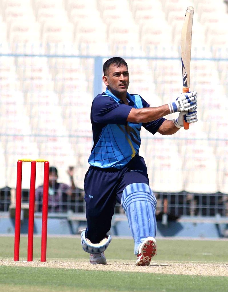 Jharkhand Captain MS Dhoni in action during a Vijay Hazare Trophy match between Jharkhand and Chhattisgarh at Eden Gardens in Kolkata on Feb 26, 2017. - MS Dhoni