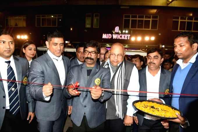 Jharkhand Chief Minister Hemant Soren and former India captain M.S. Dhoni inaugurate new facilities at the Jharkhand Cricket Association Stadium on Wednesday evening. - Hemant Soren