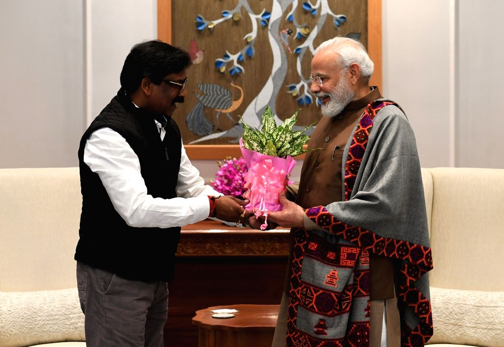 Jharkhand Chief Minister Hemant Soren calls on Prime Minister Narendra Modi in New Delhi on Jan 11, 2020. The two leaders discussed the state specific issues at the meeting held at Modi's ... - Hemant Soren and Narendra Modi