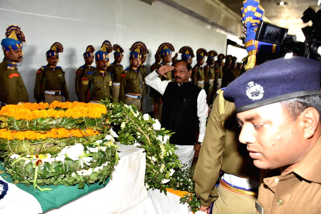 Jharkhand Chief Minister Raghubar Das salutes martyr Vijay Soreng, one of the 49 CRPF personnel killed in 14 Feb Pulwama militant attacks in Ranchi on Feb 16, 2019. - Raghubar Das