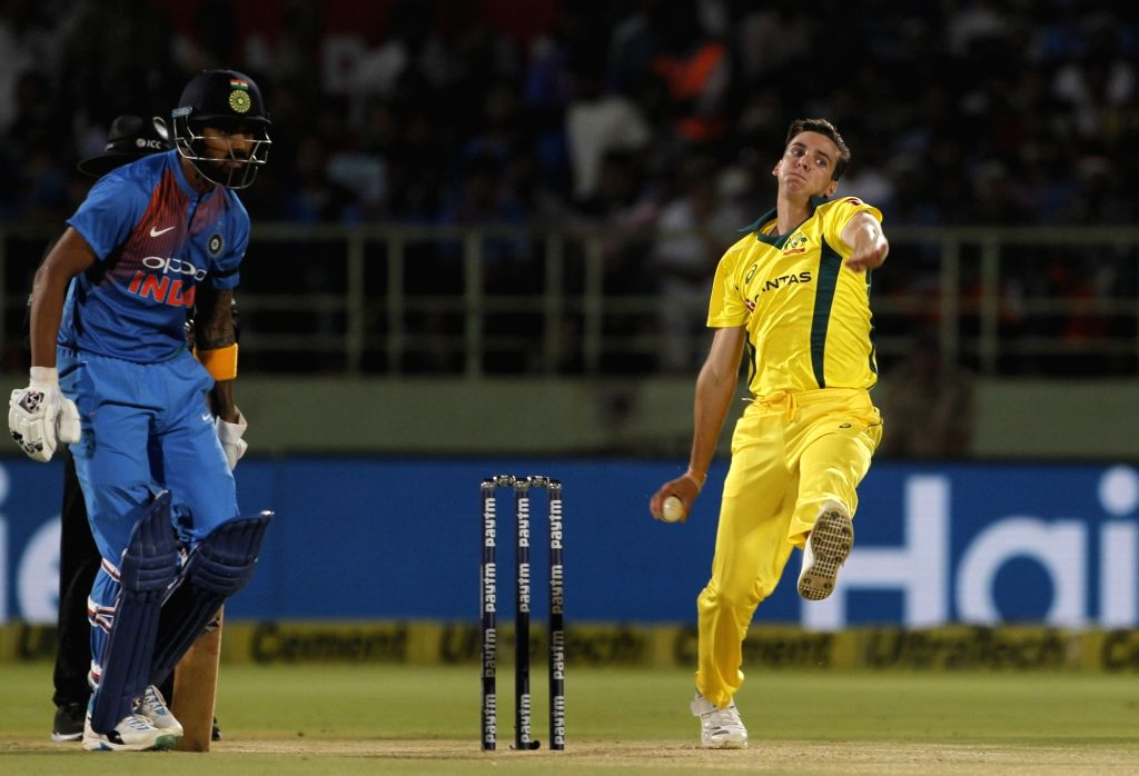 Jhye Richardson of Australia in action during the 1st T20I match between India and Australia at Dr. Y.S. Rajasekhara Reddy ACA-VDCA Cricket Stadium in Visakhapatnam, Andhra Pradesh on ...