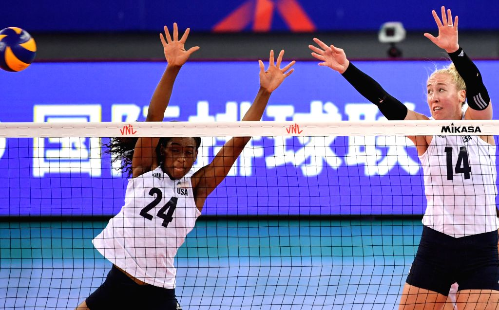 JIANGMEN, June 12, 2019 - Chiaka Ogbogu and Michelle Bartsch-Hackley (R) of the United States block the ball during the 2019 FIVB women's volleyball nations league between the United States and ...