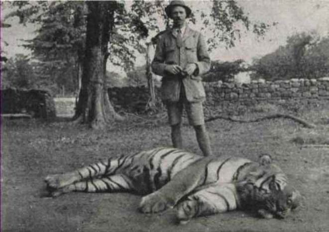 Jim Corbett with one of the man-eaters he killed in Kumaon