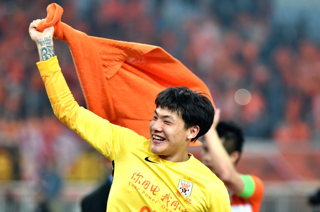 JINAN, April 20, 2016 - Wang Dalei, goalkeeper of China's Shandong Luneng FC, celebrates after the Group H fifth round match against Japan's Sanfrecce Hiroshima at the 2016 AFC Champions League in ...