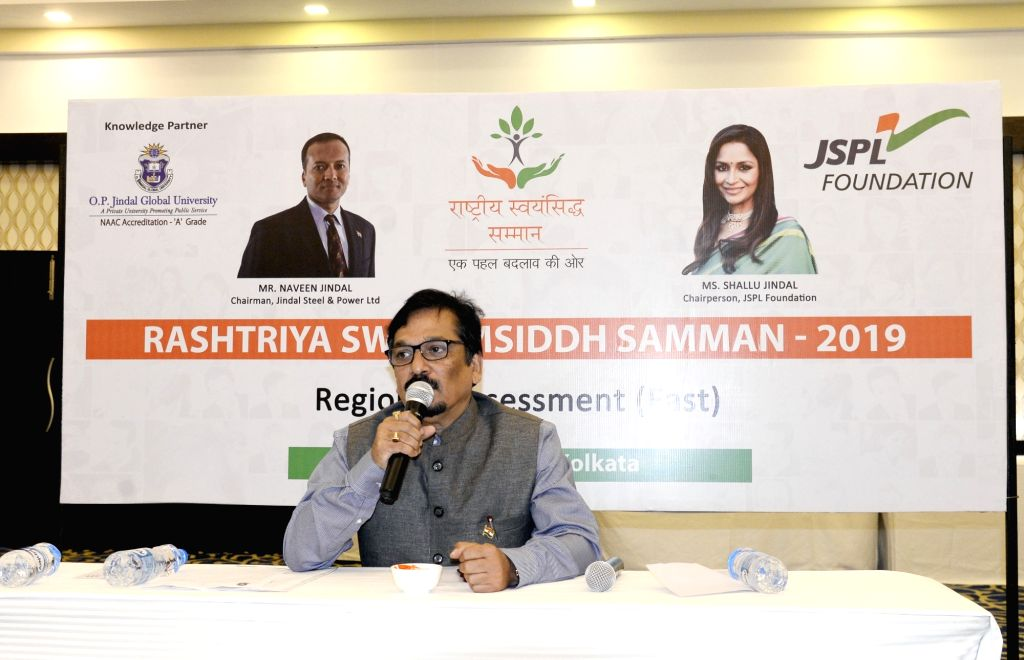 Jindal Steel and Power Limited (JSPL) General Secretary Prashant Hota addresses the media during regional assessment for JSPL???s 3rd Edition of Rashtriya Swayamsiddh Samman 2019, in Kolkata ...