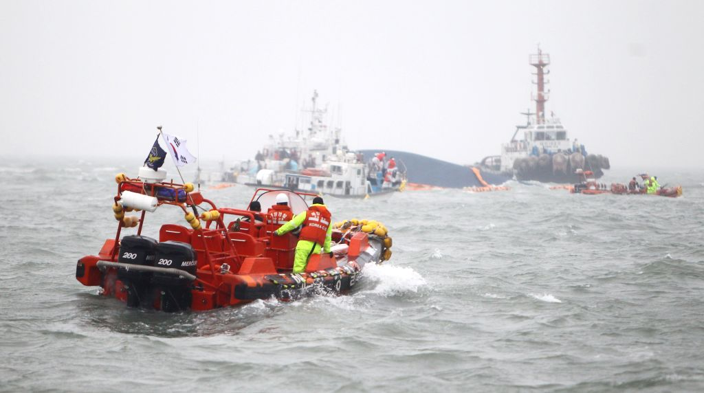 "A vessel participates in search and rescue operations of the upturned South Korean ferry ""Sewol"" in the sea off Jindo, South Korea, April 17, 2014. The ..."