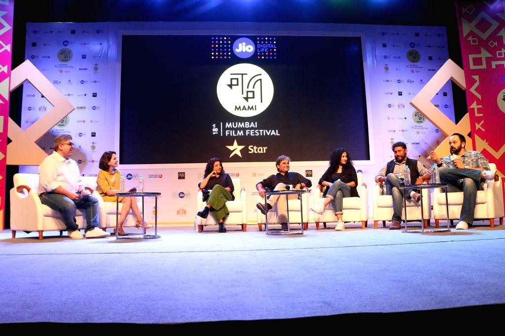 Jio MAMI Movie Mela with Star - Panel 2 - Rajeev Masand & Anupama Chopra with Zoya Akhtar, Vishal Bhardwaj, Gauri Shinde, Shoojit Sircar and Rohit Shetty - Anupama Chopra, Vishal Bhardwaj and Rohit Shetty