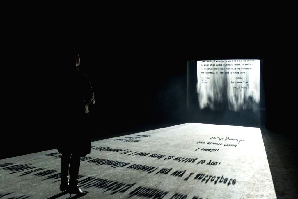 Jitish Kallat, Covering Letter, 2012, FogScreen Projection. (Image Courtesy: Philadelphia Museum of Art Collection: Artist)
