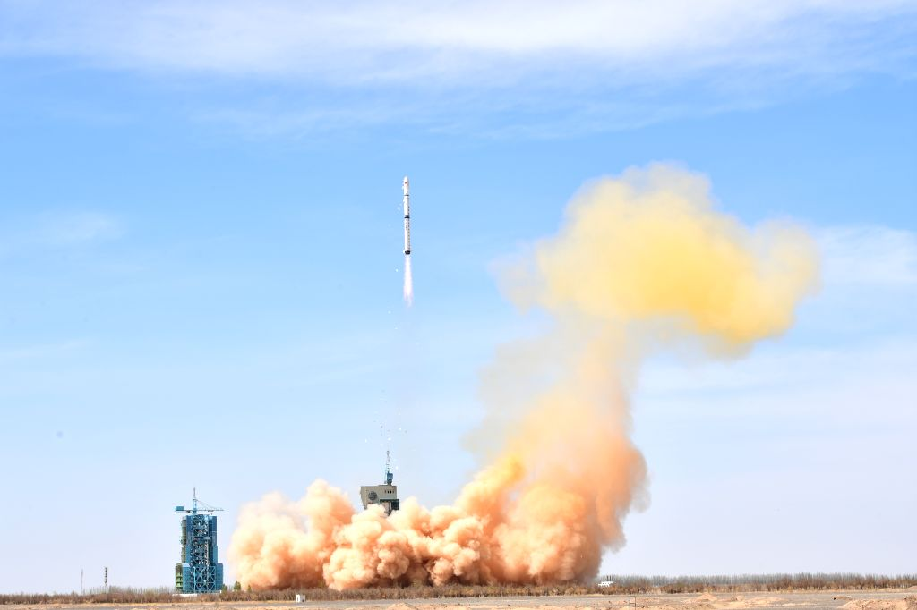 JIUQUAN, April 10, 2018 - A Long March-4C rocket carrying the first group of China's Yaogan-31 remote sensing satellites and a micro nano technology experiment satellite is launched from Jiuquan ...